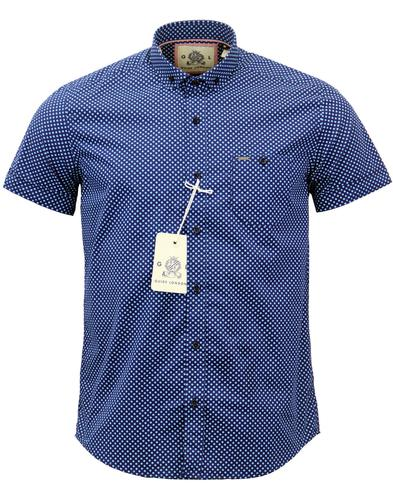 guide london retro 60s mod polkadot shirt in blue