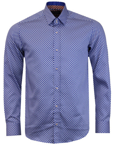 guide london retro 1960s mod polka dot shirt blue