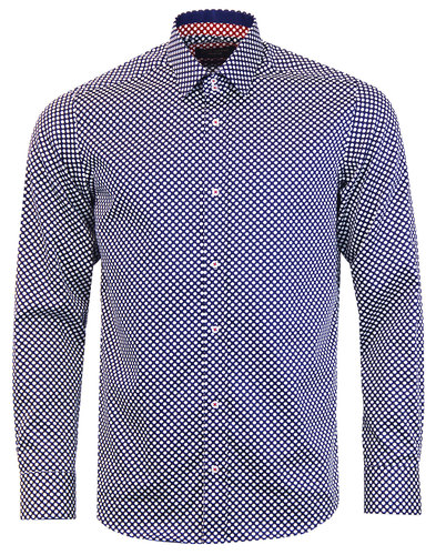 guide london retro 1960s mod polka dot shirt navy