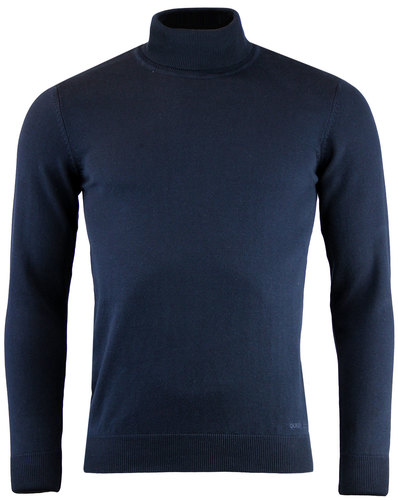 guide london retro mod knit roll neck jumper navy
