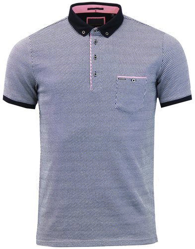 GUIDE LONDON Retro 60s Mod Smart Jacquard Polo