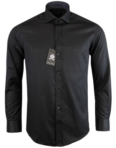 guide london retro mod tonal stripe shirt black