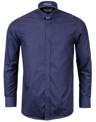 guide london 60s mod button down tonic shirt navy