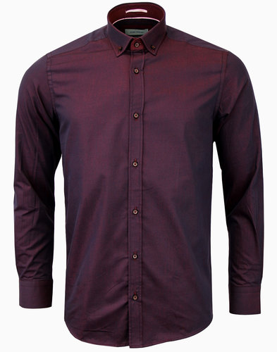 guide london 60s mod button down tonic shirt plum