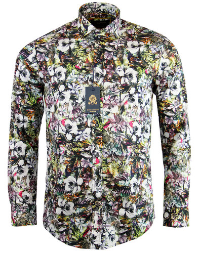 GUIDE LONDON 1960s Mod Wild Floral Print Shirt