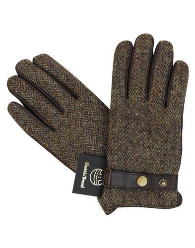 harris tweed gloves brown tweed mod