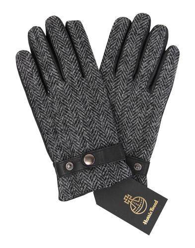 GIBSON LONDON Harris Tweed Herringbone Gloves GREY