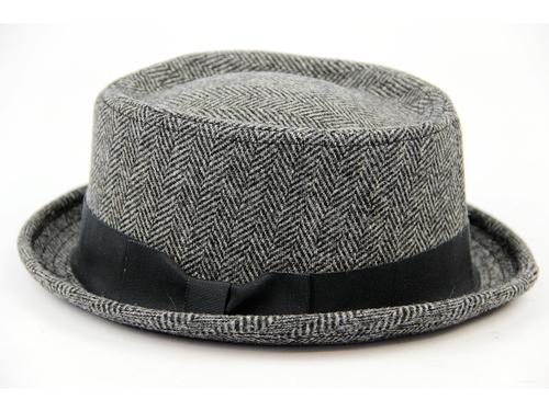 RETRO MOD SKA PORKPIE HAT BE-BOP HAT HERRINGBONE