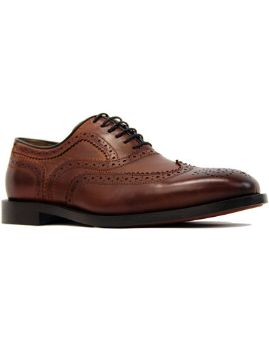 Heyford HUDSON 60s Mod Wingtip Brogue Shoes COGNAC