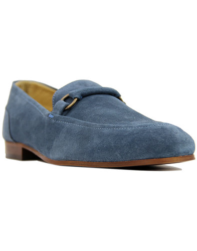 h by hudson renzo retro 60s mod suede loafers blue