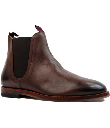 h by hudson tamper mod brown leather chelsea boots