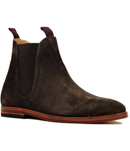 H by HUDSON TAMPER MOD SUEDE CHELSEA BOOTS BROWN
