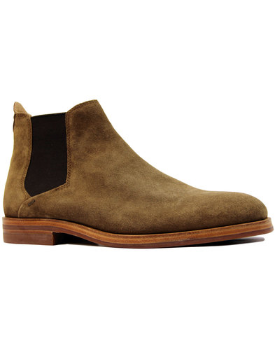 h by hudson tonte suede 60s mod chelsea boots tan