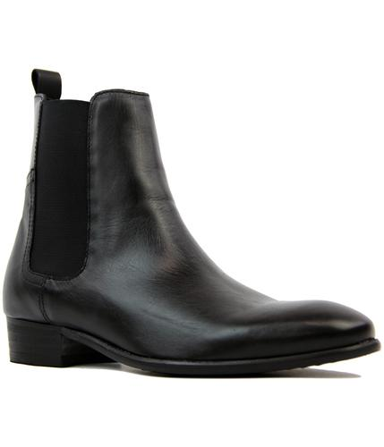 H BY HUDSON WATTS CHELSEA BEATLE BOOTS BLACK