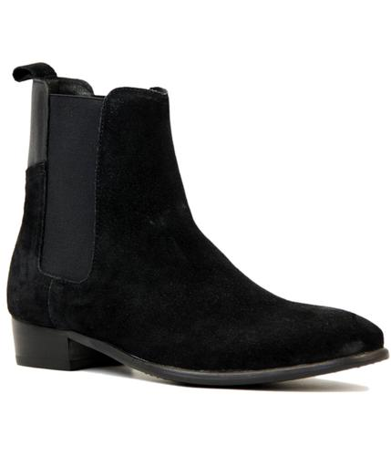 H BY HUDSON WATTS MOD BLACK SUEDE CHELSEA BOOTS