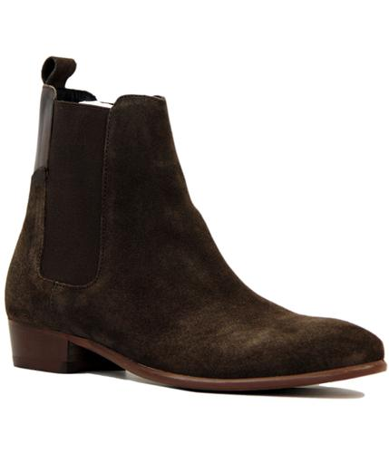 H BY HUDSON WATTS BROWN SUEDE CHELSEA BOOTS BROWN