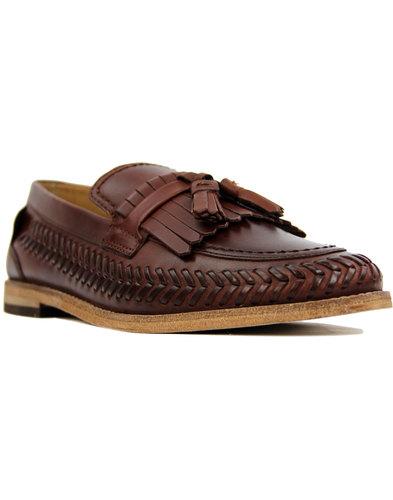 h by hudson zair 60s mod woven vamp kiltie loafers