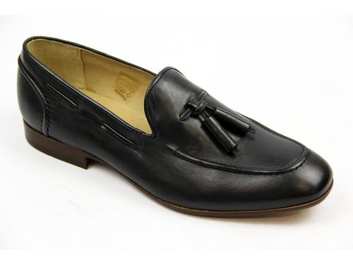HUDSON RETRO MOD TASSEL LOAFERS BLACK MOD SHOES