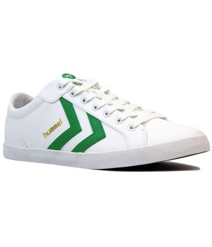 hummel deuce court sport retro 70s trainers green