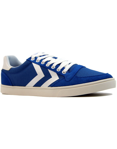 slimmer stadil waxed low retro 1970s trainers blue