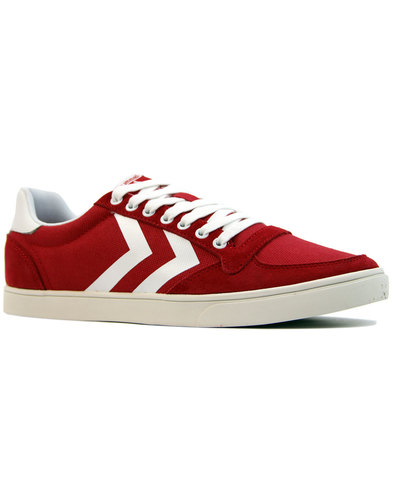 slimmer stadil waxed low retro 1970s trainers red