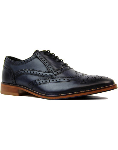 ikon benson retro 1960s mod oxford brogues navy