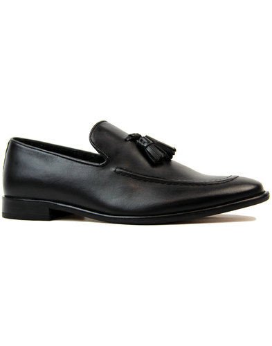 ikon kent mens retro 60s mod tassel loafers black