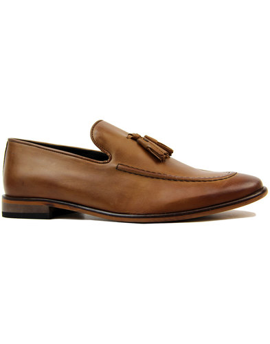 ikon kent mens retro 1960s mod tassel loafers tan