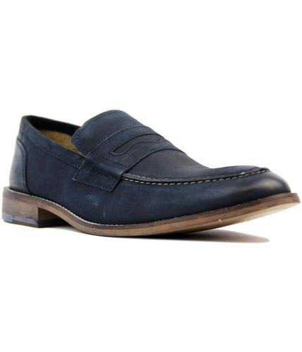 ikon marner retro mod penny loafer shoes in navy