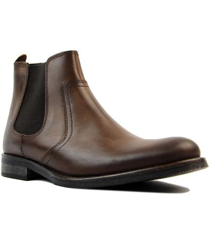 ikon powell retro 1960s mod chelsea boots in brown