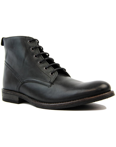 Stiller IKON Retro 1970s Washed Black Worker Boots