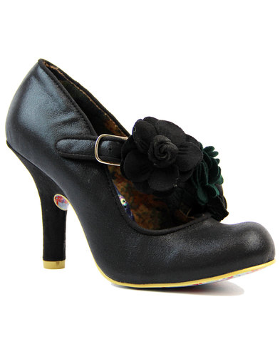 Irregular Choice Aurora Black Roses Bow Shoes