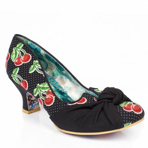 IRREGULAR CHOICE DAZZLE PANTS CHERRY HEELS BLACK