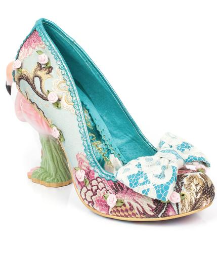 IRREGULAR CHOICE FLAMINGO HEELS BLUSHING BIRD