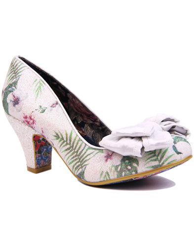irregular choice ban joe retro white floral heels