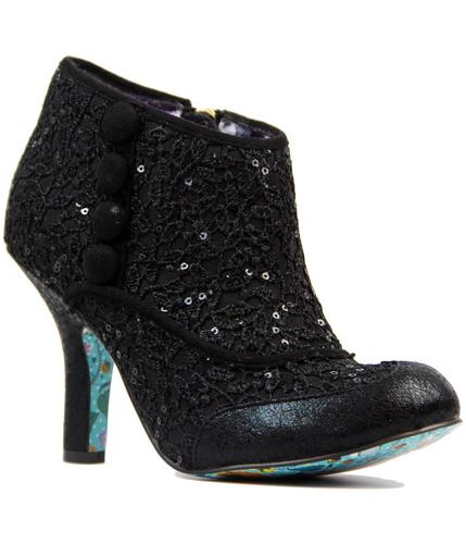 IRREGULAR CHOICE RETRO VINTAGE LACE BOOTS BLACK