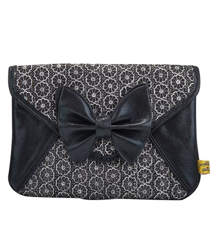 IRREGULAR CHOICE MAL E BOW LACE BLACK CLUTCH BAG