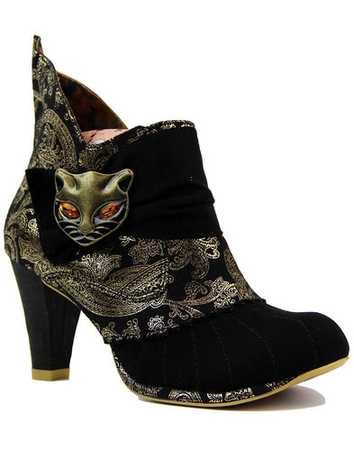 irregular choice miaow boots black gold paisley