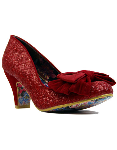 irregular choice ban joe retro red glitter heels