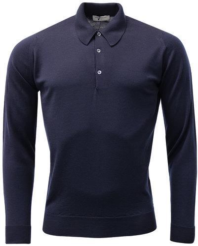 John Smedley Dorset Retro Mod Polo Shirt Midnight