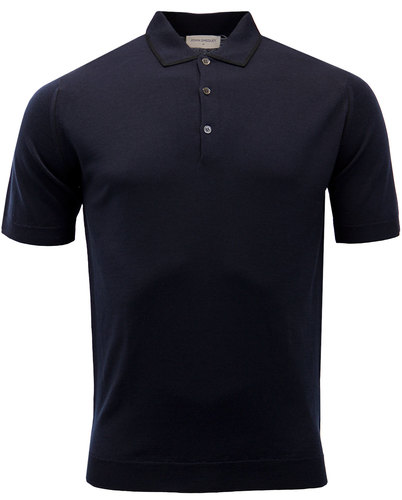 john smedley lydgate 60s mod tipped polo midnight