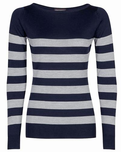 JOHN SMEDLEY WOMENS FIRTH RETRO 60s STRIPED JUMPER