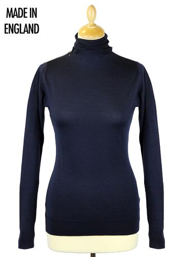JOHN SMEDLEY WOMENS RETRO 70S TURTLENECK JUMPER