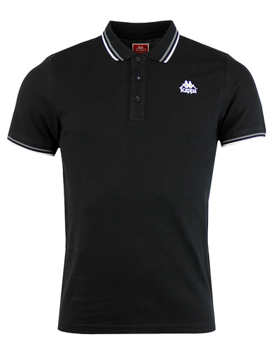 Kappa Esmalto tipped pique polo shirt black
