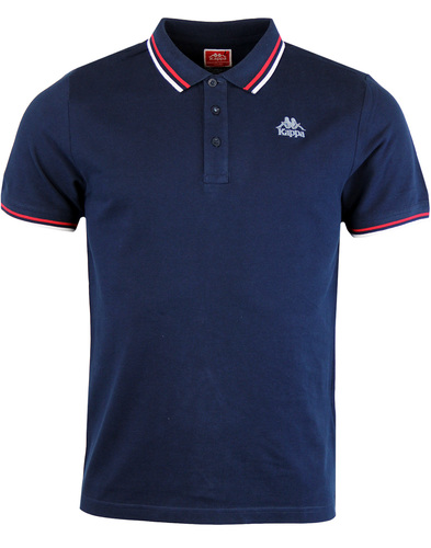 Kappa Esmalto tipped pique polo shirt Navy