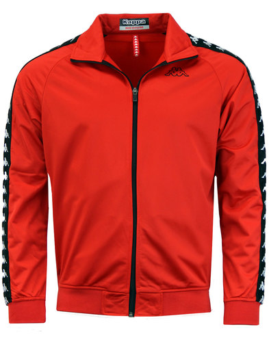 Anniston KAPPA Retro 80s Funnel Neck Track Top RED