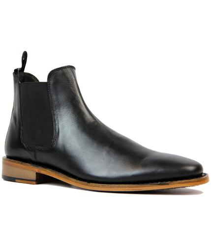 RETRO MOD GOODYEAR WELTED CHELSEA BOOTS BLACK