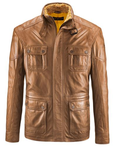 BARNEY AND TAYLOR LEATHER JACKET KNUTSFORD TAN