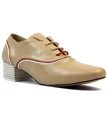 laceys patti retro 1970s mod piping shoes nude
