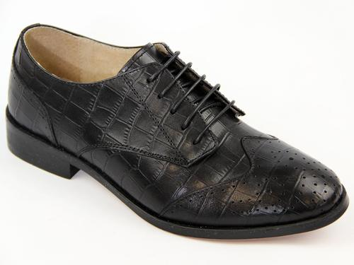 LACEYS WOMENS CROC STAMP BROGUES SHOES RETRO